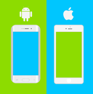Illustration of an apple and and android phone with the logos above on a teal and lime green split background.